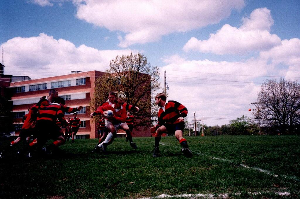 Brian getting ready to tackle Rugby player at Benedictine College