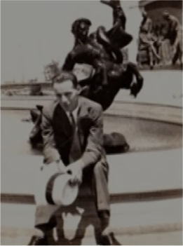 William Wachter sitting by one of Kansas City's fountains