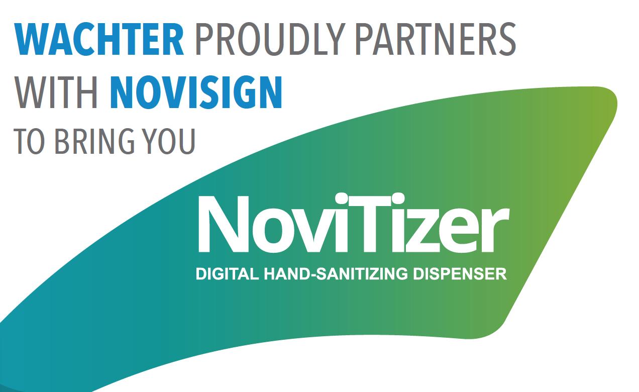 NoviTizer - Touchless Hand Sanitizer Kiosk with Digital Signage | Wachter, Inc.