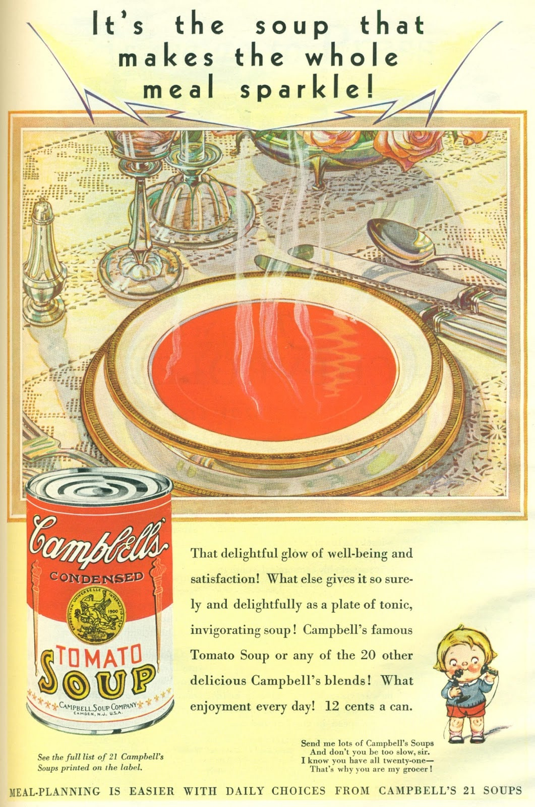 Campbells Tomato Soup ad from 1930