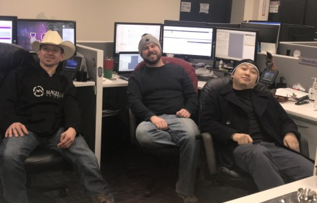 Electrical team in Lowell wears hats during Hat Day