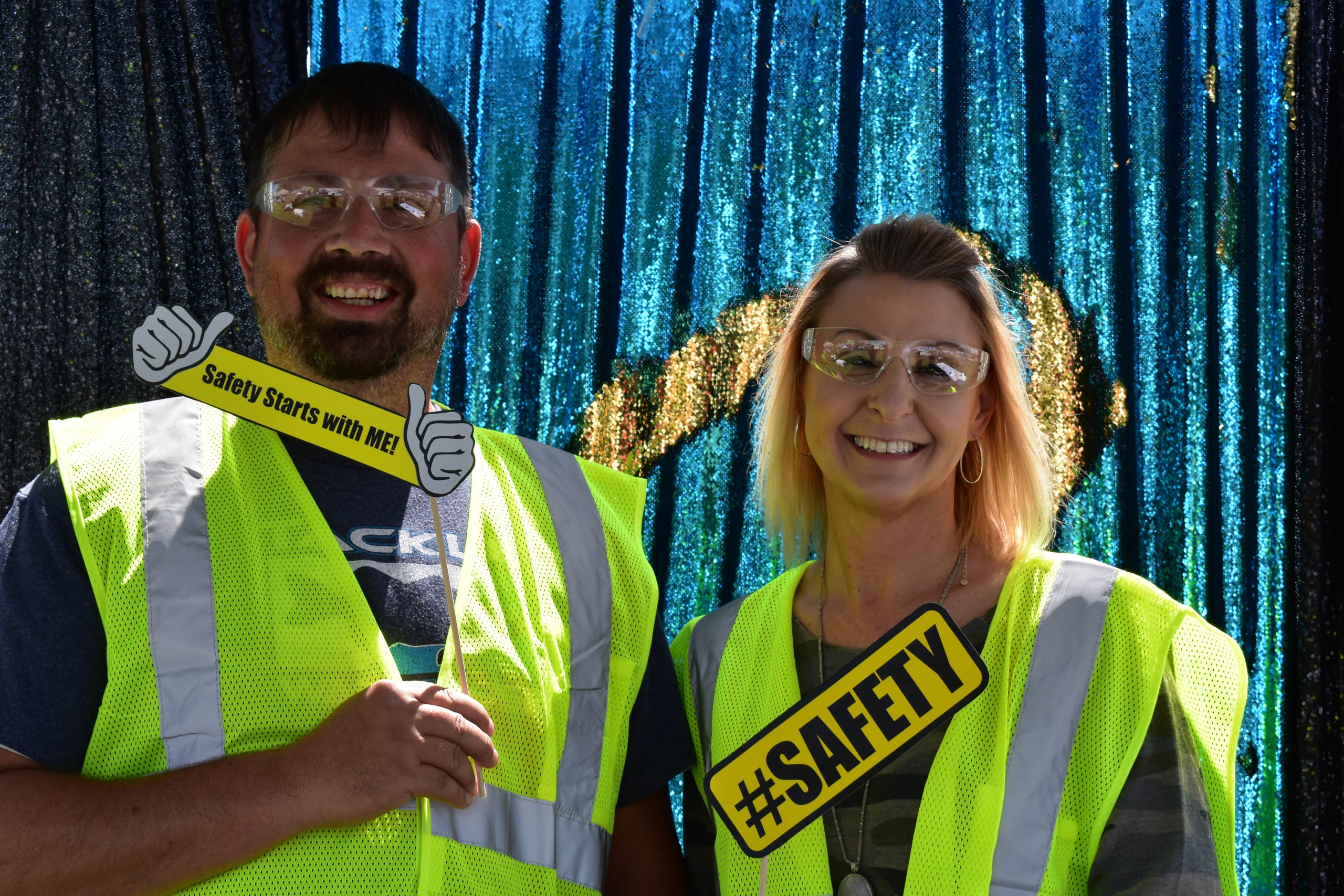 Employees showing their appreciation for safety at picture booth
