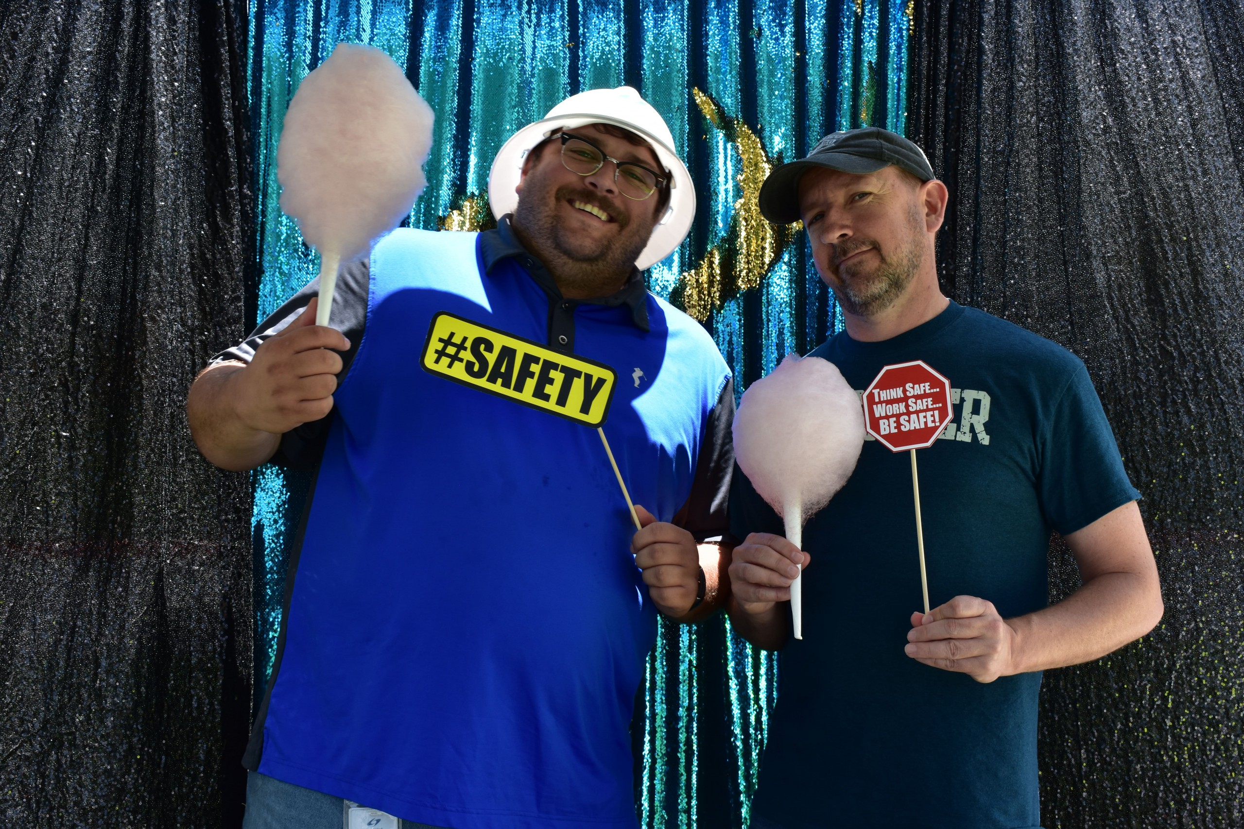 Enjoying cotton candy and safety appreciation at the safety picture booth