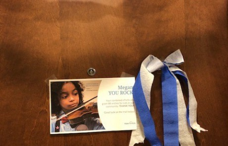 Note from grateful child for Make-a-Wish Foundation posted to Wachter employee hotel room door
