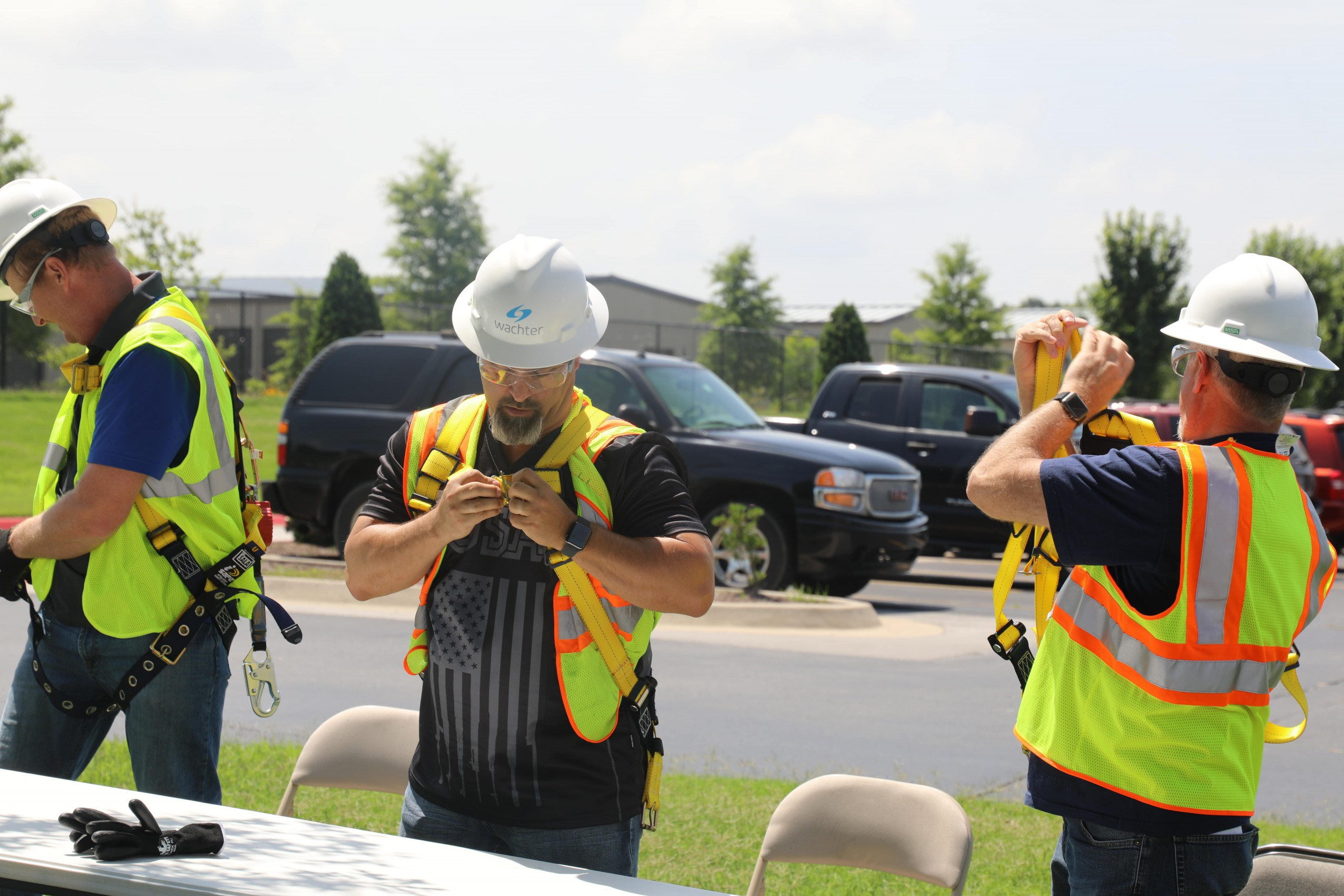 Racing each other during the PPE Race at the Wachter Safety Fair
