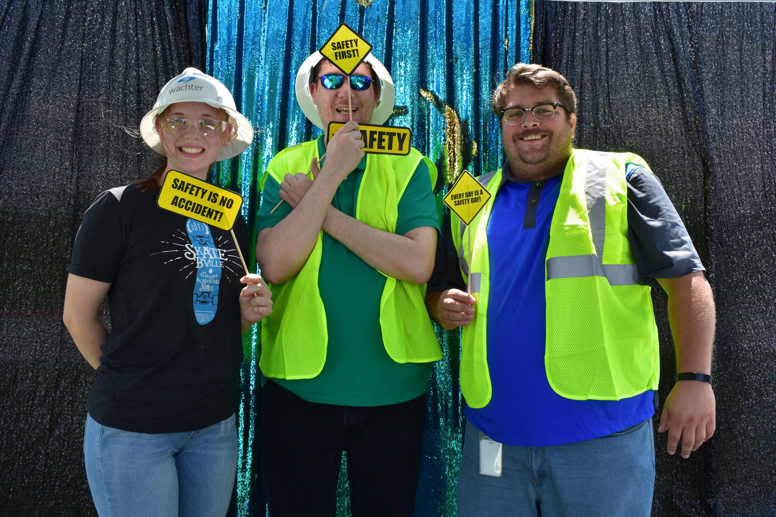 Safety picture booth photo of fun employees